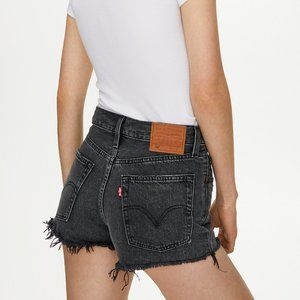 Levi's 501 Distressed Faded Black Denim Shorts 28